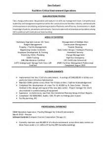facility operations specialist sle resume facilities manager resume haadyaooverbayresort