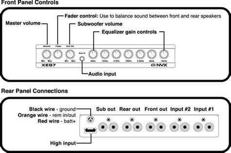 Crunch Sub Wiring Diagram by Nvx Xeq7 1 2 Din 7 Band Graphic Equalizer W 2 Aux Input