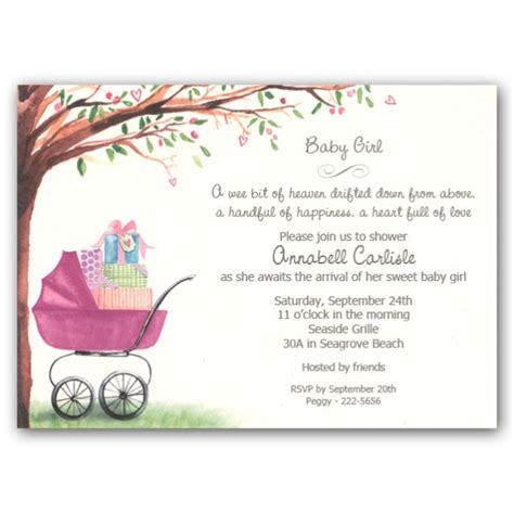 foliage girl carriage baby shower invitations clearance
