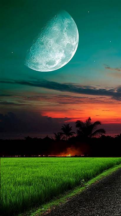 Iphone Moon Sky Grass Wallpapers Backgrounds Phone