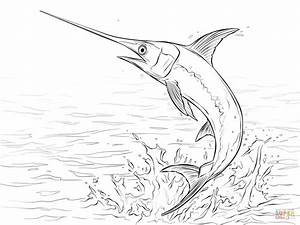 Swordfish Jumping out of Water coloring page | Free ...