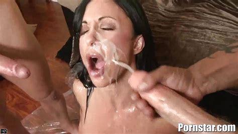 Busty Brunette Porn Star Gets A Bukakke Like No Other
