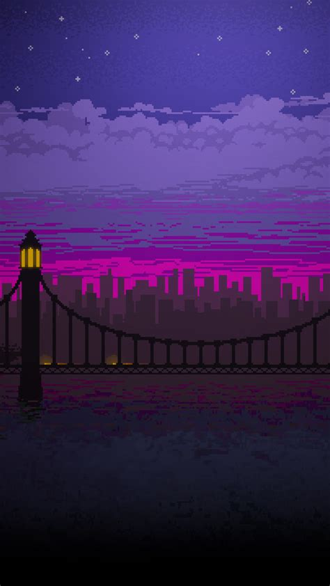 pixel art bridge night full hd wallpaper