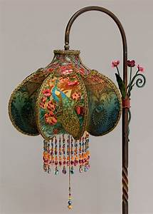 art nouveau peacock victorian bridge lamp and shade With peacock style floor lamp with 5 shades