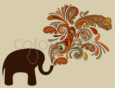 elephant  floral pattern coming   trunk stock