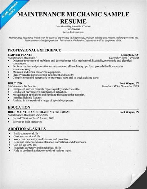 resume skills exles for mechanic resume ixiplay free