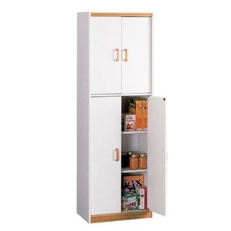 4 Door Pantry with Oak Trim in Charleswood White   4506