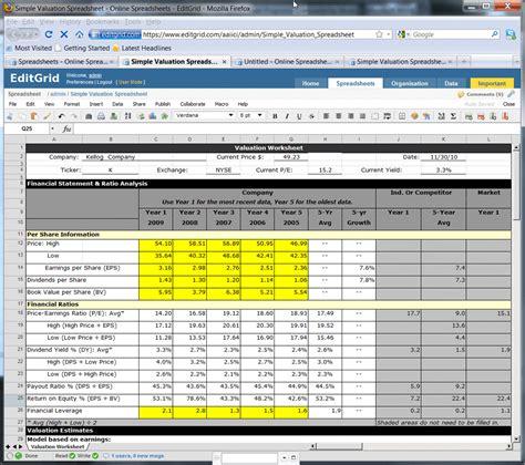 online spreadsheet programs