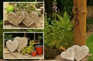 concrete hearts garden patio deck decor ideas