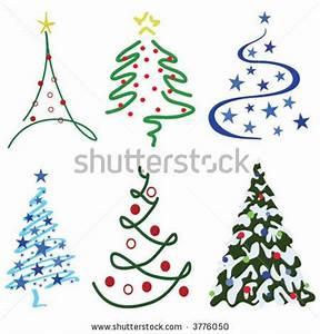 stock vector Christmas Tree Design Set – Six tree