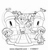 Bouncy Castle Clipart Children Playing Bounce Inflatable Cartoon Outlined Vector Drawing Moon Happy Visekart Slide Royalty Coloring Sheet Getdrawings Illustration sketch template