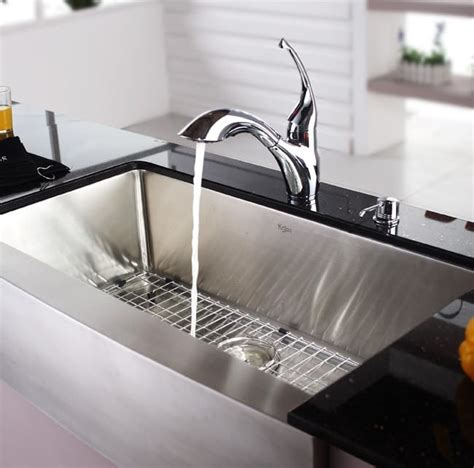 kraus stainless steel kitchen sinks kraus khf20036 36 inch farmhouse single bowl kitchen sink 8828