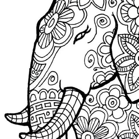 printable elephant coloring pages  adults