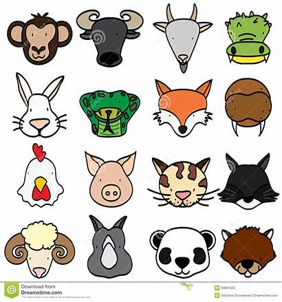 Animals Types Animal Cartoon Head Icons Vector