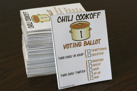 chili cook  voting ballots chica designed  voting