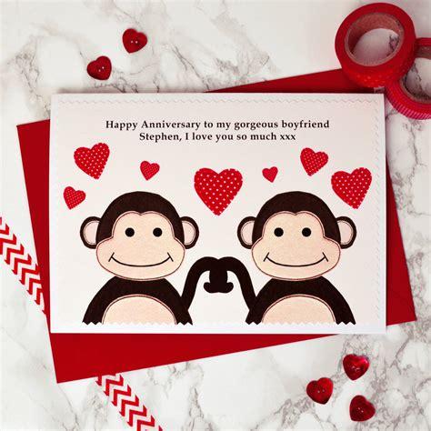 monkeys personalised anniversary card  jenny arnott