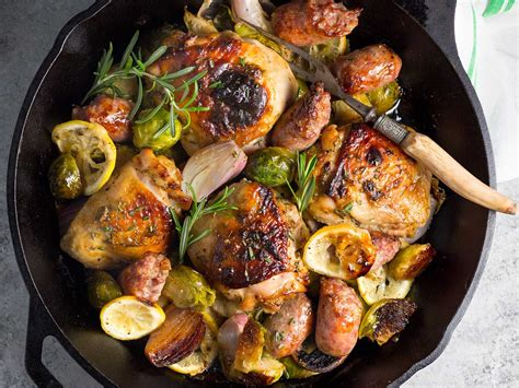 one pan recipes one pan chicken sausage and brussels sprouts recipe serious eats