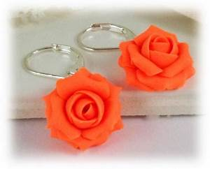 Neon Orange Rose Earrings
