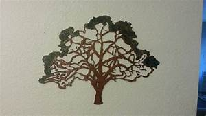 Oak tree metal rustic home decor wall