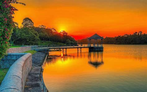 Sunset Orange Sky Lake Park Wooden Platform Summer Garden ...