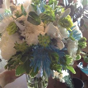 Blue, white and green bridal bouquet with spider mums ...