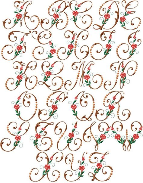 heirloom roses font machine embroidery designs  hoop embroidery alphabet alphabet design
