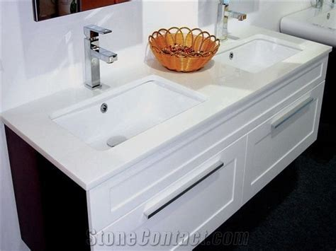 Pure White Crystallized Glass Vanity Top from China