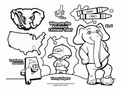 Coloring Football Alabama Pages Tide Crimson College