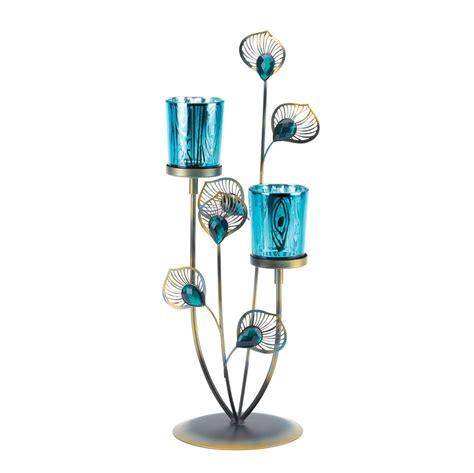 peacock plume candle holder wholesale  koehler home decor