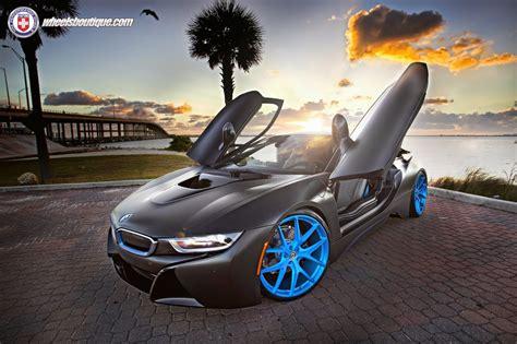 matte black bmw   fantastic  blue hre wheels