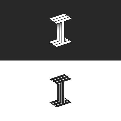 letter  logo isometric symbol modern monogram black  white parallel lines linear style