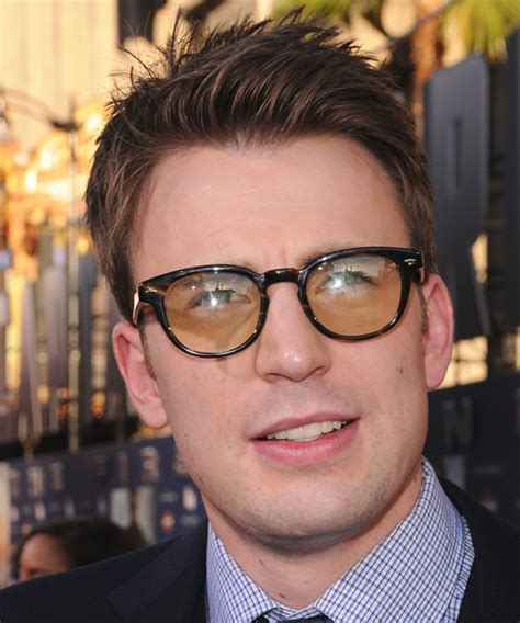 chris evans casual short straight hairstyle brunette