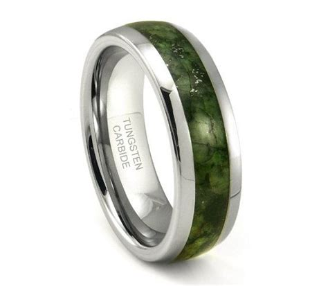 tungsten carbide emerald green marble inlay dome wedding