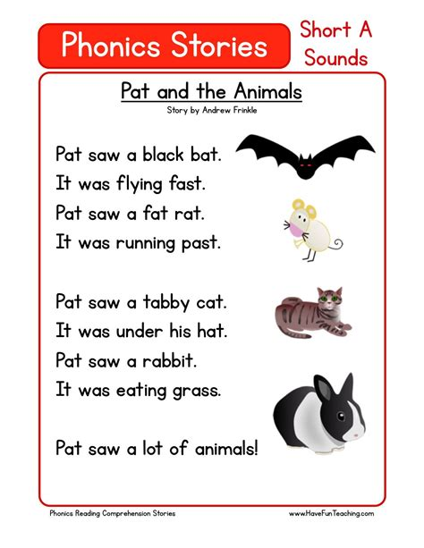 pat and the animals reading comprehension