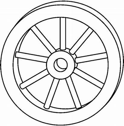 Wheel Coloring Clip Clipart Rim Wagon Cliparts
