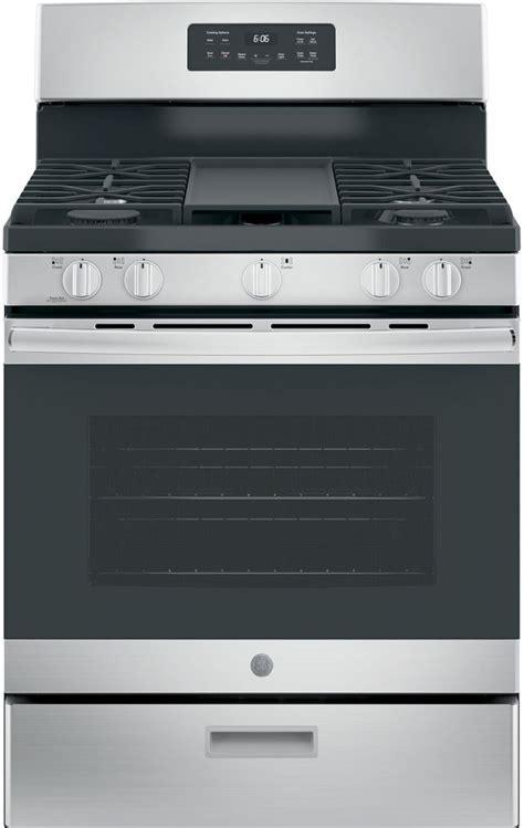 ge  stainless steel  standing gas range jgbsrekss spencers tv appliances