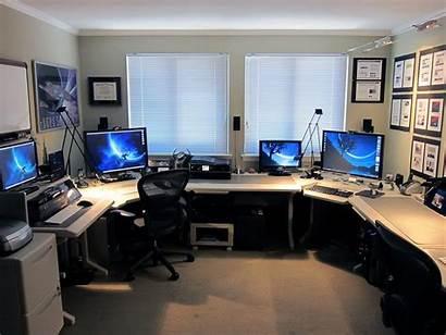 Office Setup Multiple Pc Computer Creative Desk