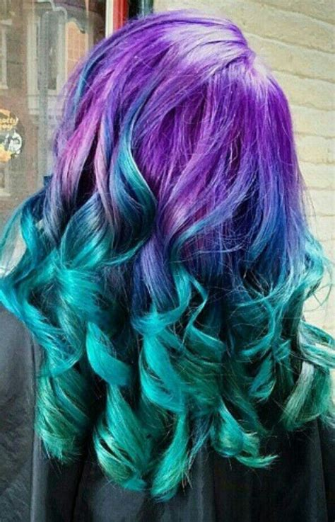 Purple To Green Ombre Hairstyle Teal Purple Hair