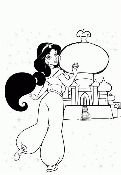 Coloring Jasmine Sitting Popular Cartoon Anime