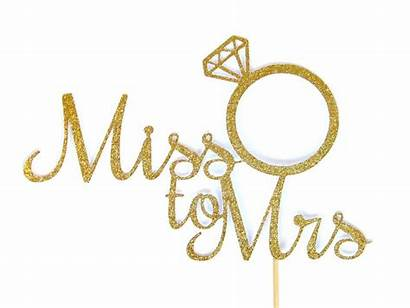 Mrs Miss Cake Topper Gold Bridal Shower