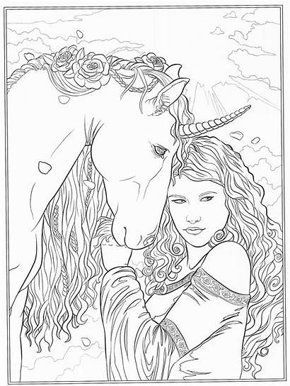 Coloring Pages Fairy Horse Fantasy Adult Blank