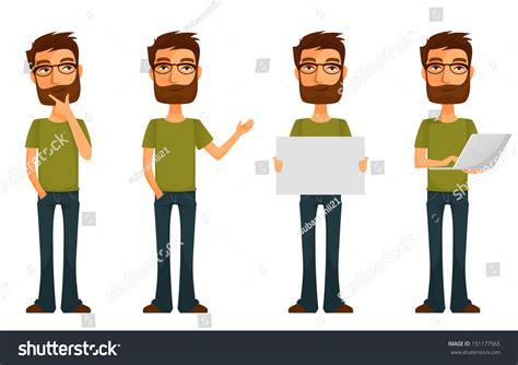 Cute Cartoon Character Young Man Beard Stock Illustration