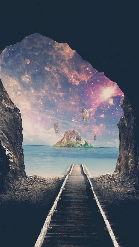 wallpaper island tunnel railway track mystic dream