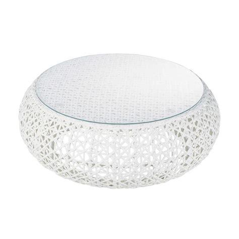 table basse de jardin en verre trempe  resine tressee blanche   cm deco