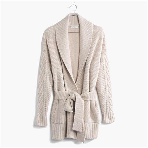 wrap sweater cardigan madewell shawl collar wrap cardigan sweater in lyst