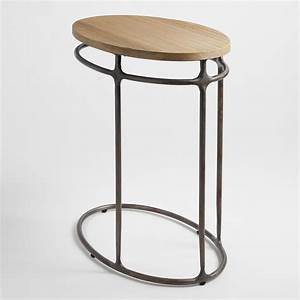 wood and metal oval laptop table world market With oval wood and metal coffee table