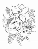 Coloring Needle Punch Birds Pattern sketch template