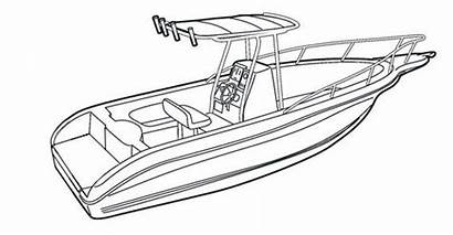 Boat Drawing Fishing Console Center Line Simple
