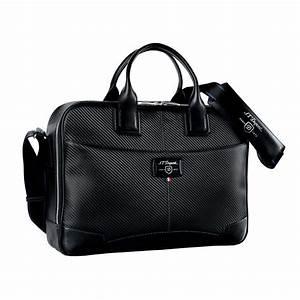 St dupont defi black carbon leather medium laptop for Document holder bag