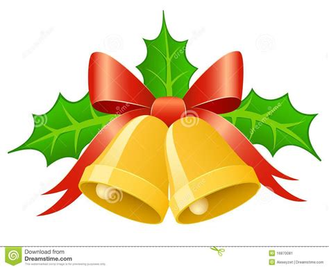 Christmas Gold Bells With Ribbon Bow And Holly Lea Stock
